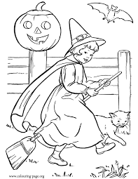 Small Picture Halloween Halloween witch with a broom coloring page