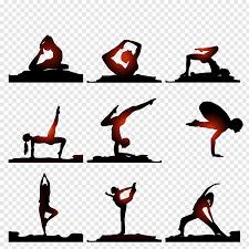 Yoga Chart Free Black And Red Yoga Chart Illustration Yoga Silhouette Art