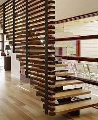 Enjoyable Wooden Divider Staircase Design With Pine Stepladder As Simple  Models Straight Stairs In Modern House Designs