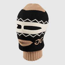 Mens Designer Hat And Gloves Gucci Mirrored Gg Jacquard Wool Balaclava Detail 2