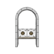 antique brown garden arch bench with arbour