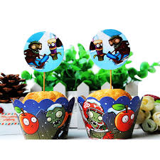 zombie wedding decorations promotion shop for promotional zombie Zombie Wedding Decorations 24pcs plants vs zombies theme wrapper topper,party cupcake decoration,kids favor birthday wedding party decoration suppiles zombie wedding supplies