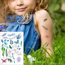 Tiny Small Green Plant Tattoo Little Leaves Butterfly Designs Temporary Waterproof Tattoo Sticker Body For Boy Girls Arms Hands Anime Th 031