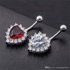 high end 18k white gold plated shiny aaa big red white cubic zircon heart belly