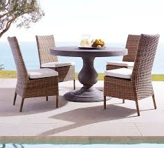 geneva concrete round fixed dining table torrey side chair set natural pottery barn