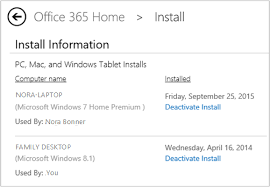 microsoft office 365 home. the install page showing computer name and of person who installed office microsoft 365 home