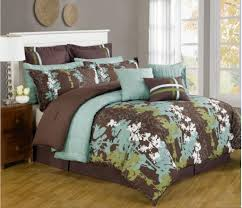 legacy decor 12 pc teal green brown and white fl print comforter set