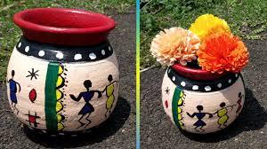 Designs For Flower Pot Painting Diy Easy Pot Painting With Acrylic Colour Easy Flower Pot Painting Ideas