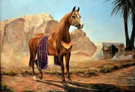 david lloyd collins animal painting desert storm arab horse oil painting