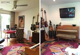 mid century modern home office. Emily Henderson_Home Office_Masculine_Modern_Dark_Ecletic_Blue_Side By Side_Before Mid Century Modern Home Office E