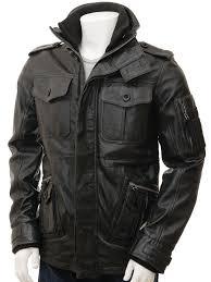 men s black leather jacket cagliari front