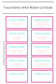 Valentines Open When Letters Printable Print Out Open When