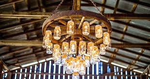 hanging rustic mason jar chandelier wrought iron