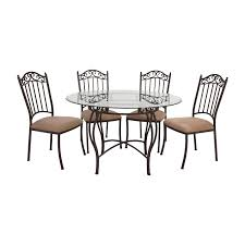 wrought iron round glass table and chairs second hand