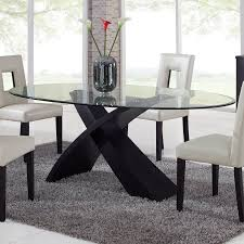 oval glass dining table. Global Furniture Exclaim Oval Glass Dining Table - The Stylized, X-shaped Base On H