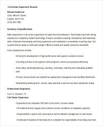Customer Service Supervisor Resume Adorable Call Center Resume Example 48 Free Word PDF Documents Download
