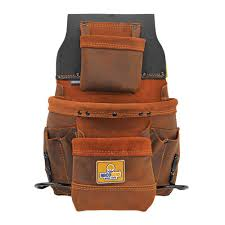 9 pocket elite series leather tool pouch in brown
