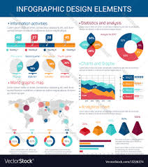 Chart Design Infographic Design Elements With Map Graph Chart