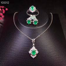 2019 natural and real emerald jewelry set natural real emerald 925 sterling silver pendant ring earring from lotusflowern 672 19 dhgate com