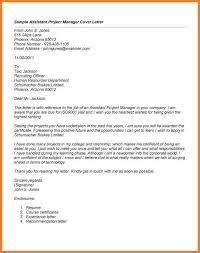 Letter Of Recommendation For Project Manager Assistant Project Manager Cover Letter