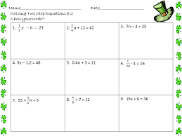 easy two step equations worksheet