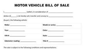 Sample Of Bill Of Sale For Car Motor Vehicle Bill Of Sale Form