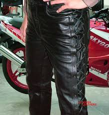 higgs leathers lacko laced side mens black leather trousers all sold