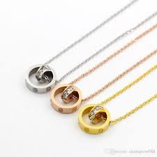 whole super flash small diamond ring size short necklace fashion wild steel ring small size ring short clavicle pendants necklaces gold pendant