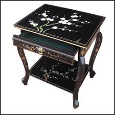 Black Lacquer Hand Painted Furniture Blossom End Table