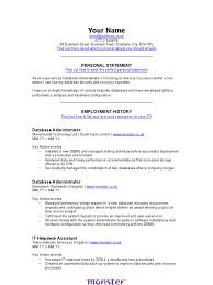 It Database Administrator Cv Template System Administrator