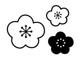 梅の花の白黒イラスト03 かわいい無料の白黒イラスト モノぽっと