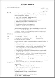 Pharmacy Technician Resume Resumes Examples Of Best Images Entry