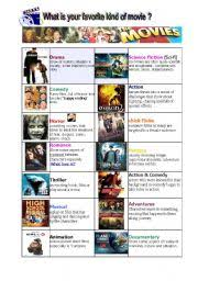types of movies english worksheets types of movie