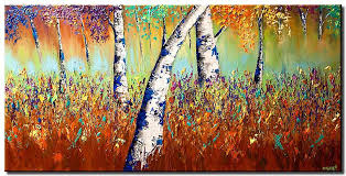 colorful forest of birch trees garden of eve