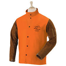 fr cotton cowhide hybrid welding jacket orange
