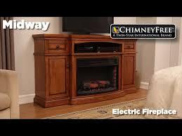 chimneyfree 60 midway electric fireplace entertainment center in premium oak finish at menards