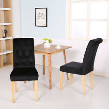 4 x canterbury velvet fabric dining room chairs scroll top high back black