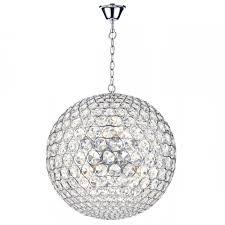 fiesta chrome and crystal glass globe ceiling pendant 8 light