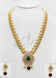 Polki Pendant Set Designs Polki Pendant Set With Green Stone In Gold Balls And Pearls