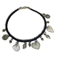 black leather ankle bracelet with beach glass and summer charms