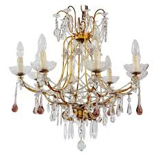 italian gilt and crystal chandelier with lilac murano drops and beaded chains