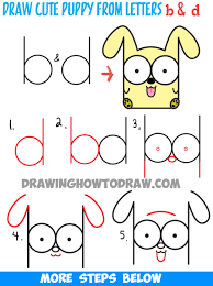 puppy drawing step by step. Perfect Step How To Draw Cartoon Baby Dog Or Puppy From Letters Easy Step By Drawing  Tutorial Throughout By