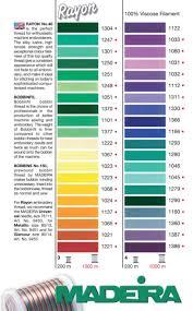 Maderia Rayon 40 Machine Embroidery Thread Colour Chart
