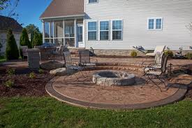 concrete patio designs with fire pit. Sunken Concrete Firepit Patio With Border Designs Fire Pit