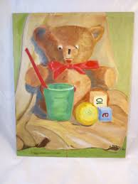 vintage teddy bear painting unframed nursery toys still life signed painting 16 x 20 in wall on vintage teddy bear wall art with vintage teddy bear painting unframed nursery toys still life signed