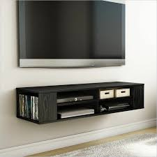 Simple Family Room Area with Flat Screen Monitor TV Wall Mount Shelves,  Black Painted Media