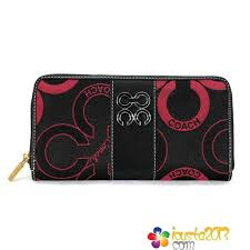 Red Black Coach Waverly Flower Charm Large Wallets