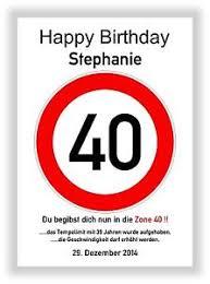 Verkehrszeichen Bild 40 Geburtstag Deko Geschenk Persönliches