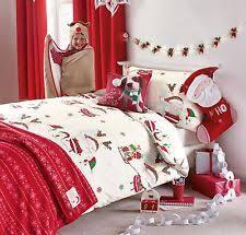 Christmas Santa & Elves Skating Printed Single Bed Set - Duvet & One Pillow  Case