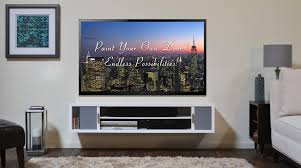 ... Floating Shelves Under Wall Mounted Tv Rectangle White Stained Wooden  Shelf Modern Design Full Size Of ...